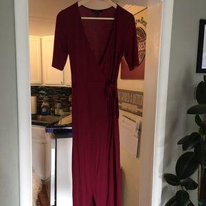 F21 burgundy midi wrap dress